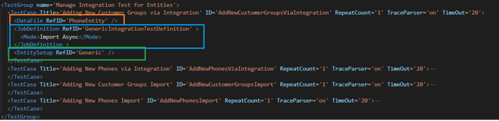 Dynamics 365 FO Data Task Automation:Test Group definition