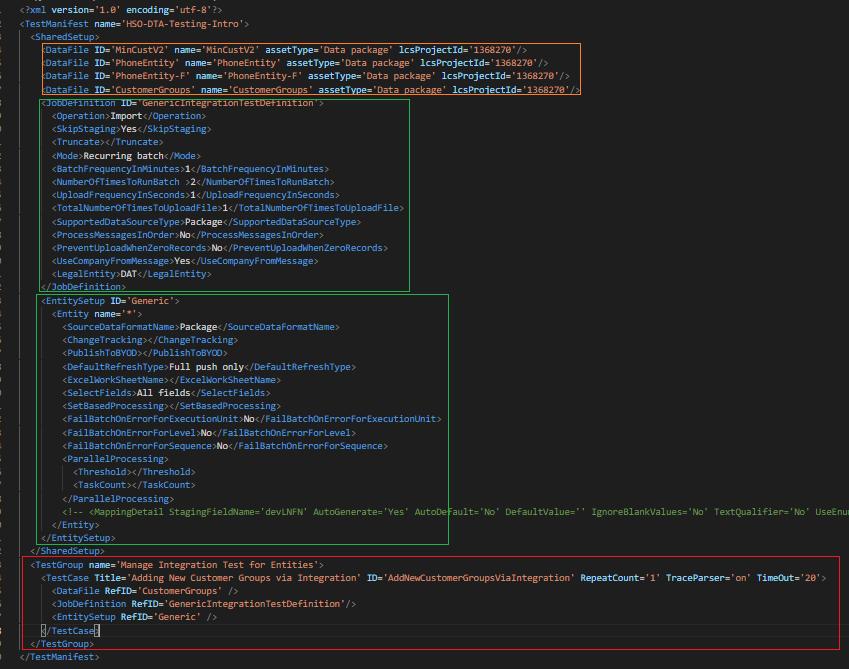 D365 FO Data Task Automation XML schema definition file