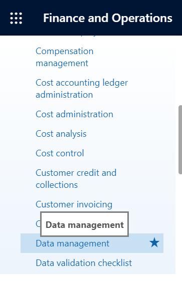 Dynamics 365 FO Data Management framework