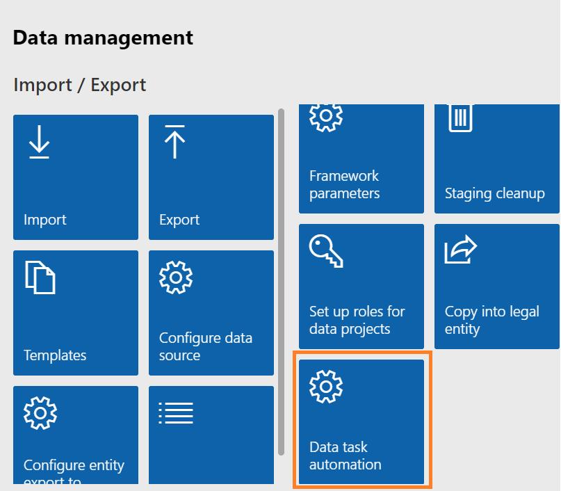 Dynamics 365 FO Data Management framework Data Tool Automation