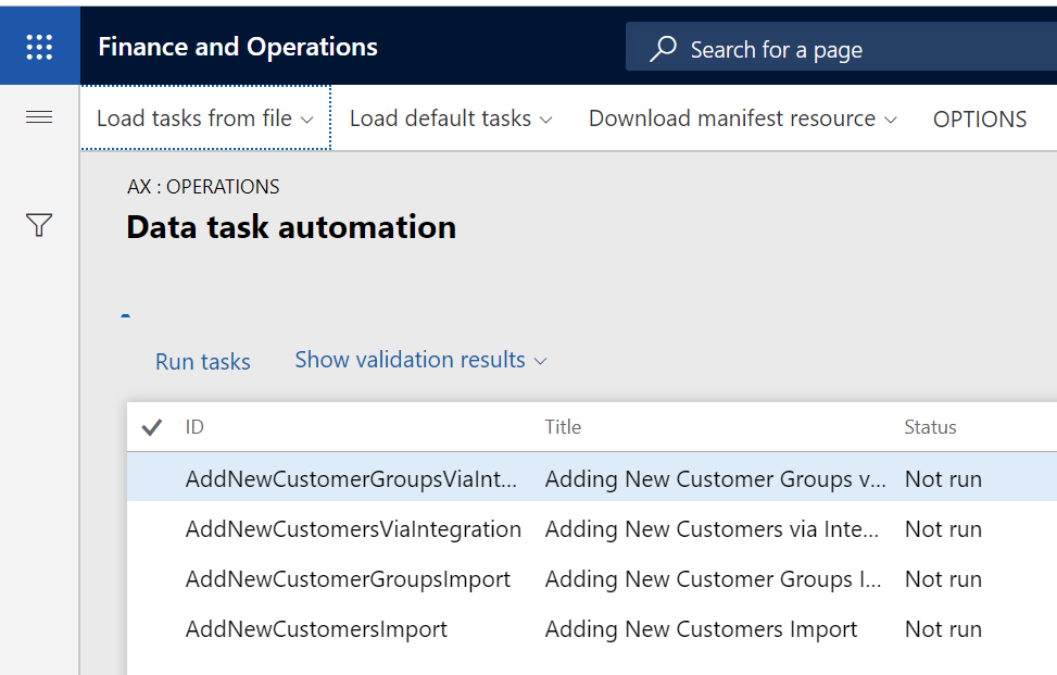 Dynamics 365 FO Data Management framework Data Tool Automation Run Tasks