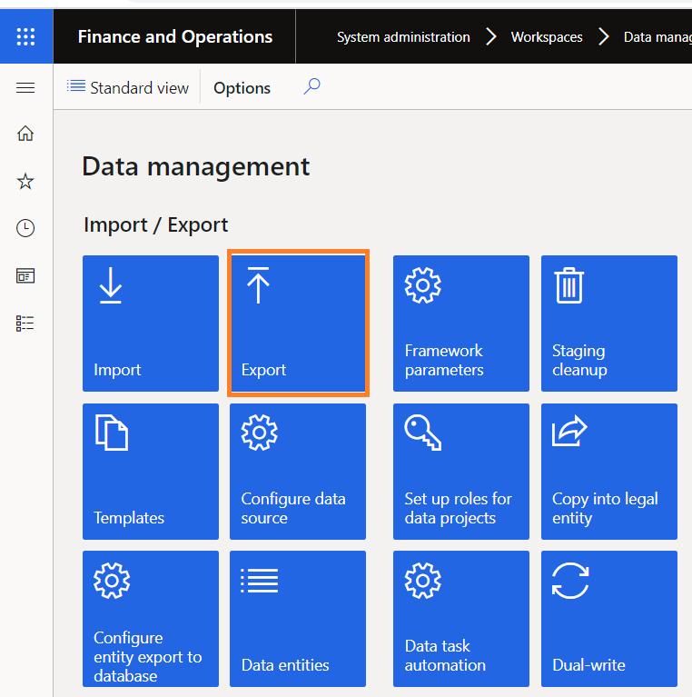 Export Entity using DMF dynamics 365 UO  finance and operation byod azure database data management framework