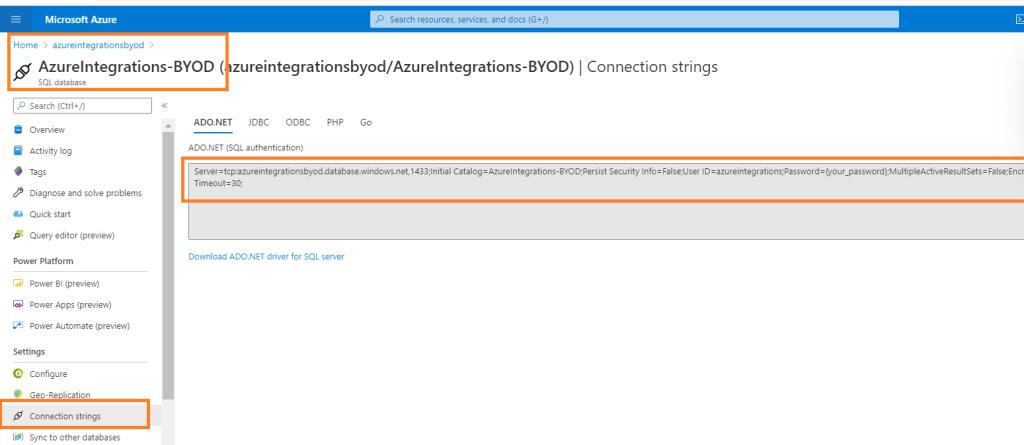 Connection string for DMF dynamics 365 UO  finance and operation byod azure database data management framework