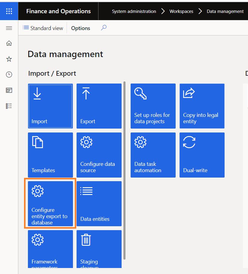 Configure DMF dynamics 365 UO  finance and operation byod azure database data management framework