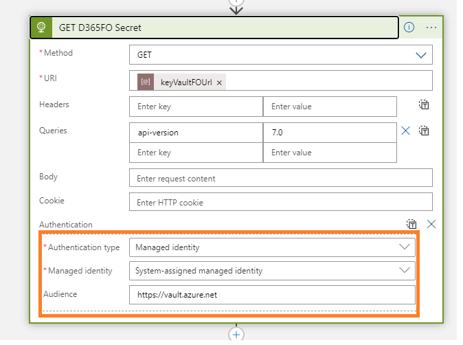 azure managed identity system assigned access key vault using HTTPS action