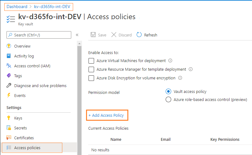 azure managed identity system assigned azure keyvault access policy