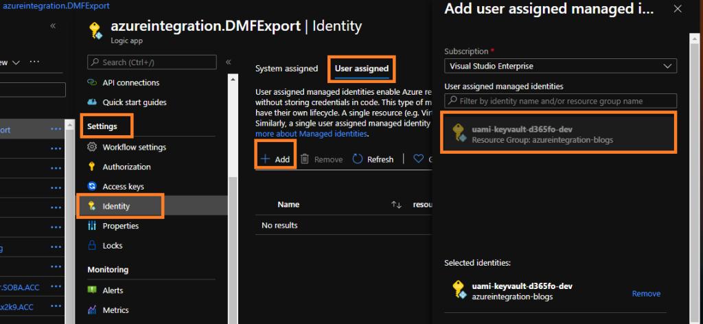 Enable Logic App user assigned azure managed identity