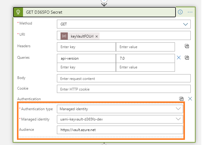 azure managed identity user assigned access key vault using HTTPS action