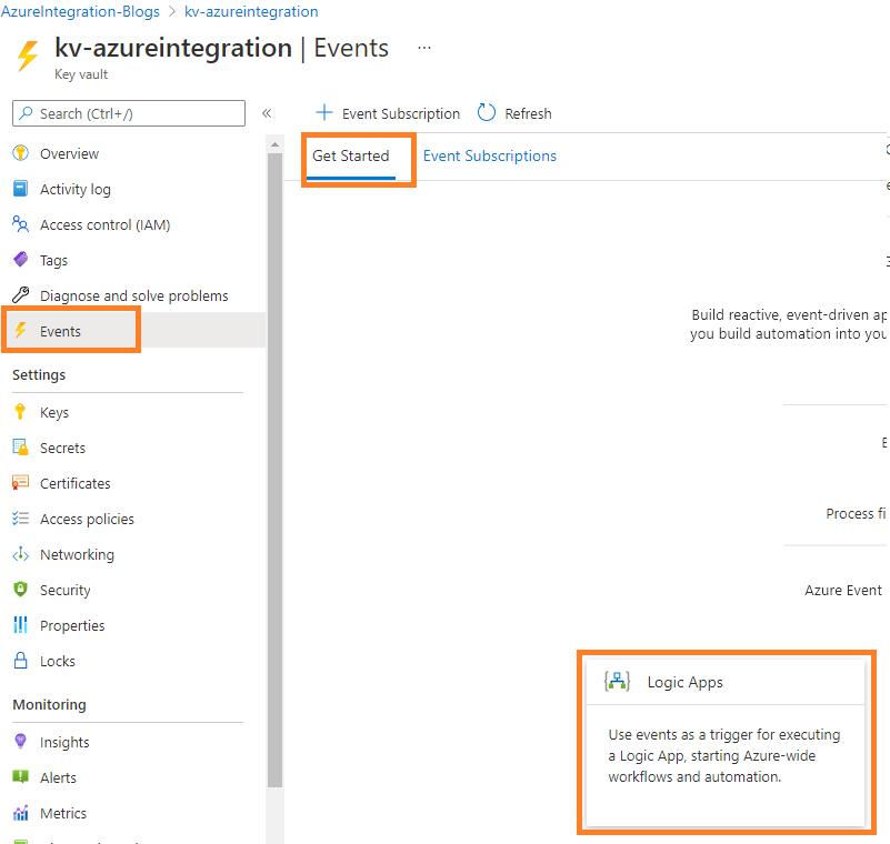 Azure Integration azure keyvault monitoring alerting event subscription to logic app