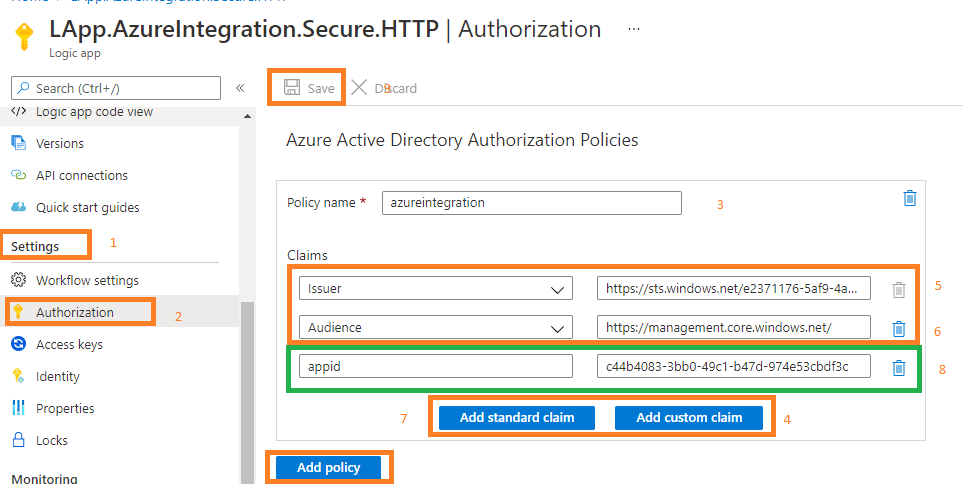 secure logic app HTTP trigger endpoints Provide information for authorization policy