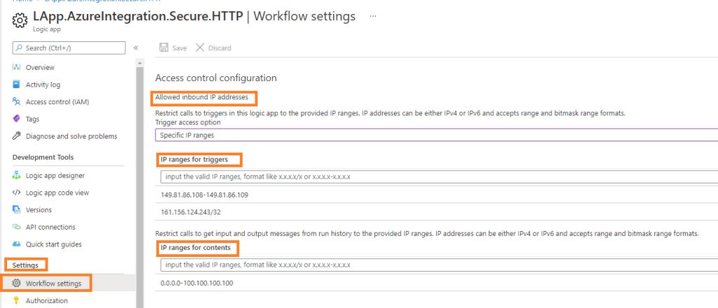 Azure Integration Secure LogicApp Endpoints enable IP Range based Restriction
