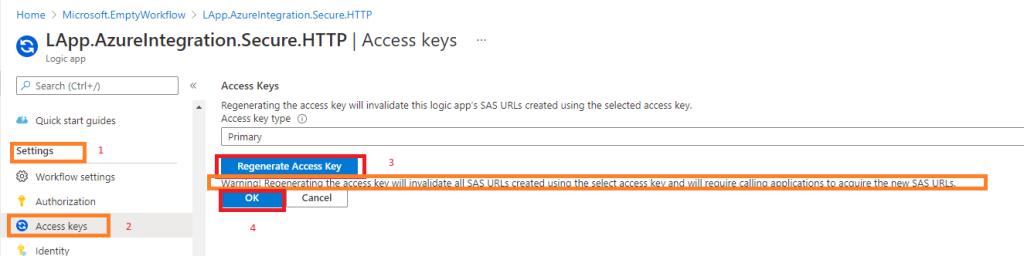 Azure integration Secure LogicApp Endpoints renew Shared Access Token