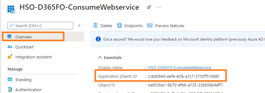 D365FO business event integration with  Azure Function App, Logic Apps, APIM, and WebAPIs : Select Application ID