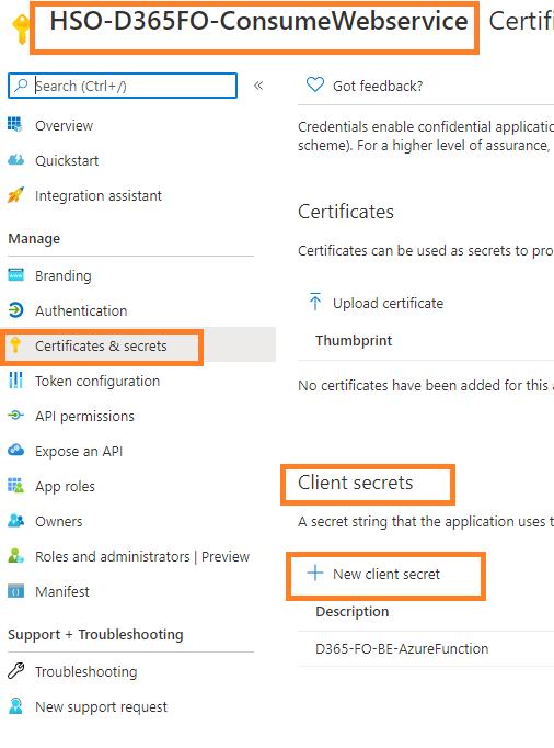 D365FO business event integration with  Azure Function App, Logic Apps, APIM, and WebAPIs : Generate New Client Secret