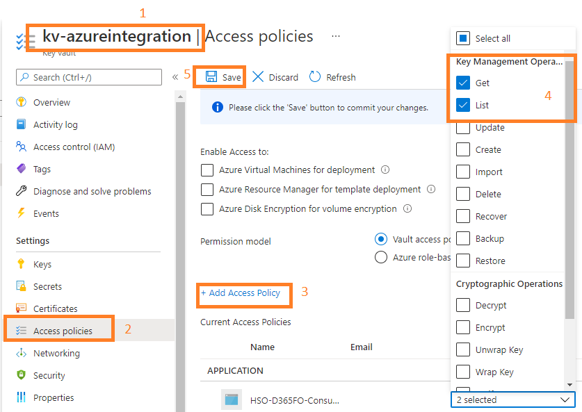 D365FO business event integration with  Azure Function App, Logic Apps, APIM, and WebAPIs : Add Keyvault access policy